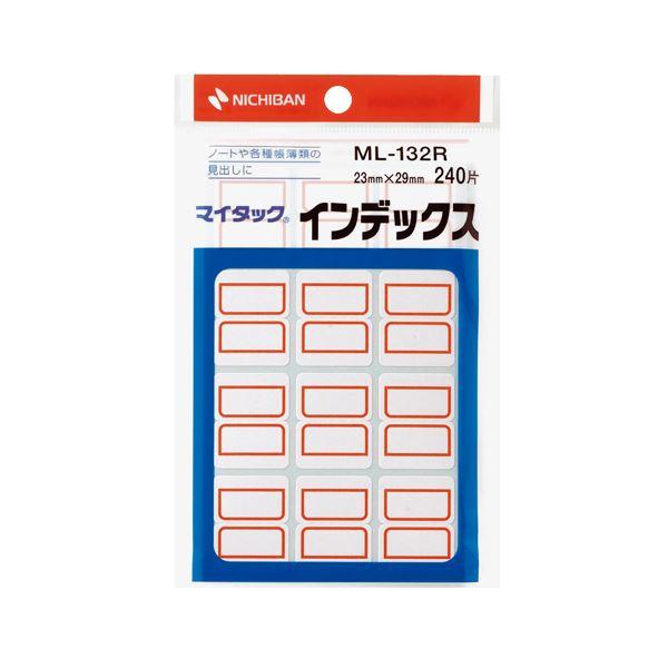 【送料無料】(まとめ) ニチバン マイタック インデックス 紙ラベル 中 23×29mm 赤枠 ML-132R 1パック(240片:12片×20シート) 【×50セット】