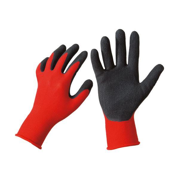 グリップ力に優れた通気性手袋。 【送料無料】(まとめ)TANOSEE 天然ゴム背抜き手袋 M レッド 1セット(50双:10双×5パック) 【×3セット】