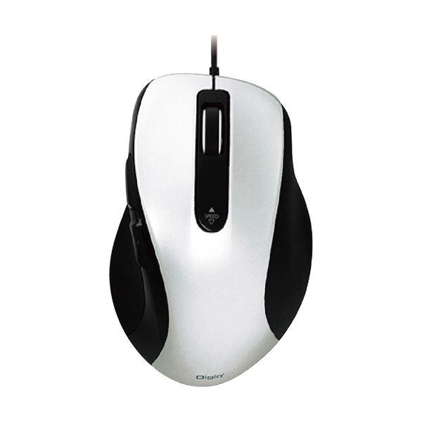 (まとめ) ナカバヤシ有線静音5ボタンブルーLEDマウス ホワイト MUS-UKF108W 1個 【×5セット】