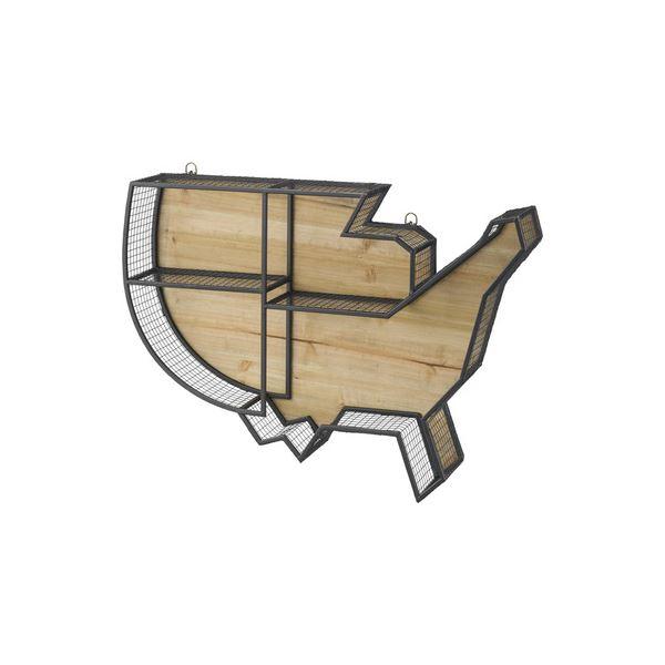 【送料無料】壁掛け リビング収納 【LFS-591B】 幅74cm スチール 木製 ラッカー塗装 『ウォールラック』 〔店舗 リビング ダイニング〕
