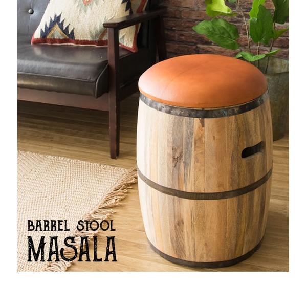 【送料無料】《完成品》樽型スツール ブラウン(革)収納スツール 木製 たる型 収納ボックス インテリアスツール 木製収納スツール 椅子 CH-L3650【代引不可】