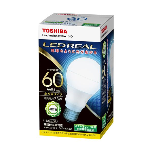 【送料無料】(まとめ) 東芝ライテック LED電球 一般電球形60W形相当 7.3W E26 昼白色 LDA7N-G/60W 1個 【×10セット】