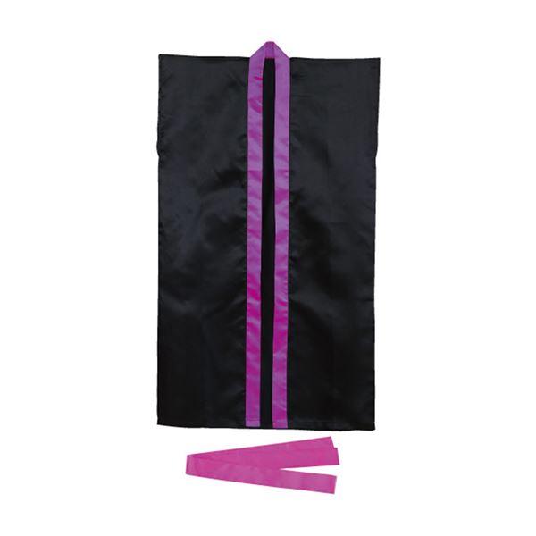 【送料無料】(まとめ)サテンロングハッピ 黒(紫襟)Lサイズ(約110cm) ハチマキ付 【×10個セット】
