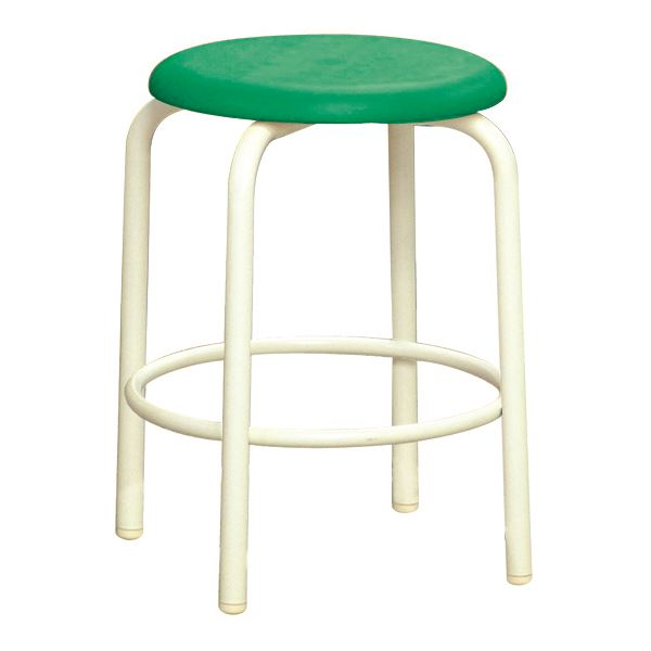 【送料無料】スツール/丸椅子 【内リング付き 同色2脚セット グリーン×ミルキーホワイト】 幅37.8cm 日本製 『ラウンドスツール』【代引不可】