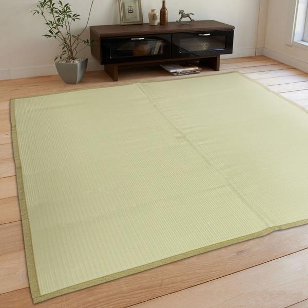 【送料無料】レジャーシート 洗える い草 PP 352×352cm 江戸間 8畳 グリーン PP無地 九装