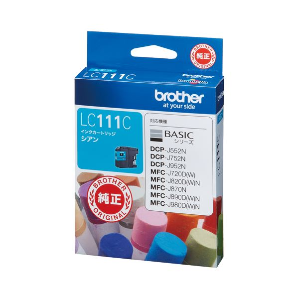 (まとめ) ブラザー BROTHER インクカートリッジ シアン LC111C 1個 【×10セット】