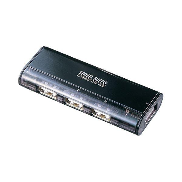 【送料無料】(まとめ) サンワサプライ 磁石付きコンパクトUSB2.0ハブ 4ポート ブラック USB-HUB225GBK 1個 【×5セット】