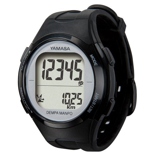 【送料無料】腕時計型 万歩計/歩数計 【ブラック×シルバー TM500-BKSL】 電波時計内蔵 生活防水 『DEMPA MANPO』 〔運動用品〕【代引不可】
