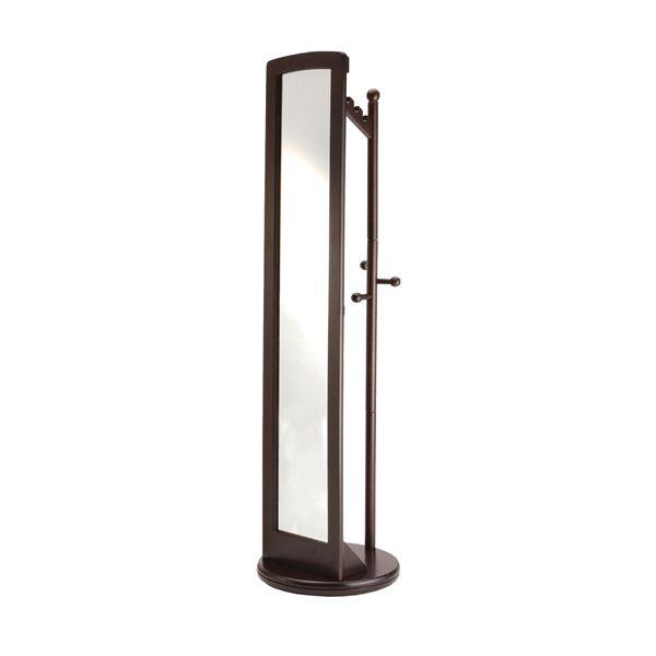 ミラー付き回転ハンガーラック/全身姿見鏡 【ダークブラウン】 高さ171cm 木製【代引不可】