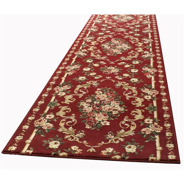トルコ製 ラグマット/絨毯 【66cm×440cm レッド】 長方形 ウィルトン 『ロゼ』 〔リビング ダイニング 寝室〕【代引不可】