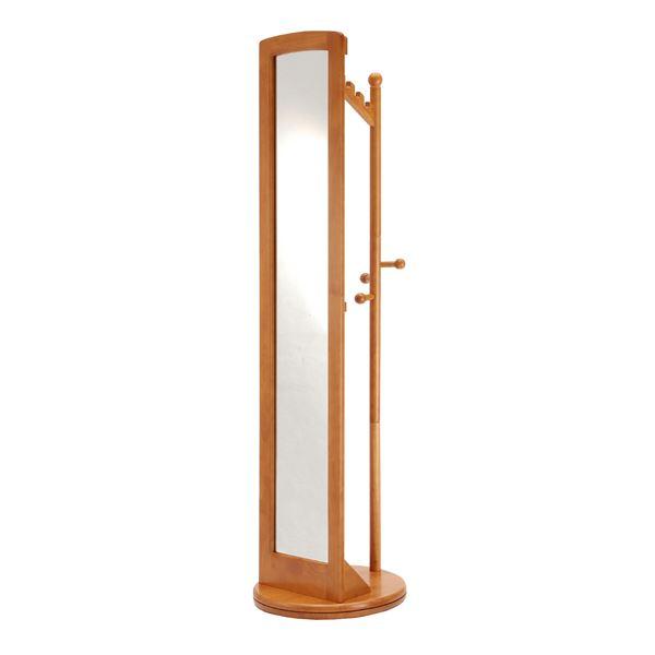 ミラー付き回転ハンガーラック/全身姿見鏡 【ハニーブラウン】 高さ171cm 木製【代引不可】
