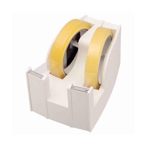 【送料無料】(まとめ) ライオン事務器 テープカッター(フリス)2連 太巻用 112×171×92mm ホワイト TC-30 1台 【×5セット】