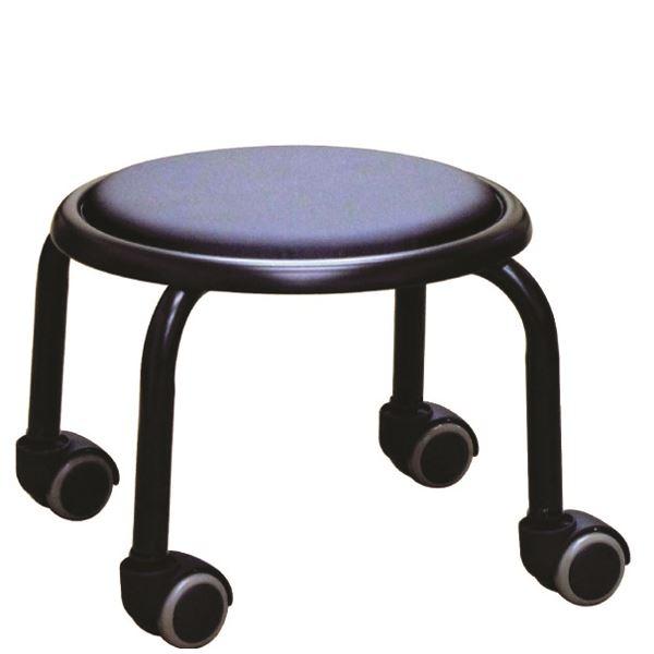 【送料無料】スタッキングチェア/丸椅子 【同色4脚セット ブラック×ブラック】 幅32cm 日本製 スチール 『ローキャスター ボン』【代引不可】