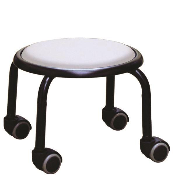 【送料無料】スタッキングチェア/丸椅子 【同色4脚セット ホワイト×ブラック】 幅32cm 日本製 スチール 『ローキャスター ボン』【代引不可】