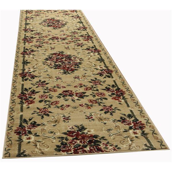 トルコ製 ラグマット/絨毯 【66cm×700cm ベージュ】 長方形 ウィルトン 『ロゼ』 〔リビング ダイニング 寝室〕【代引不可】