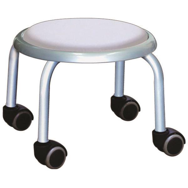 【送料無料】スタッキングチェア/丸椅子 【同色4脚セット ホワイト×シルバー】 幅32cm 日本製 スチール 『ローキャスター ボン』【代引不可】