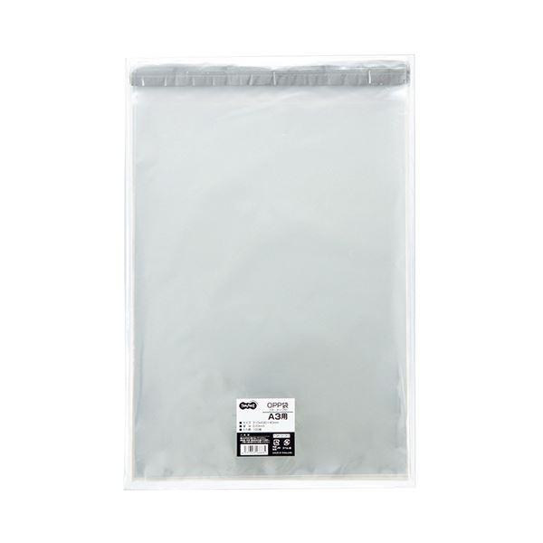 (まとめ)TANOSEE OPP袋 フタ・テープ付A3用 310×430+40mm 1セット(500枚:100枚×5パック)【×3セット】