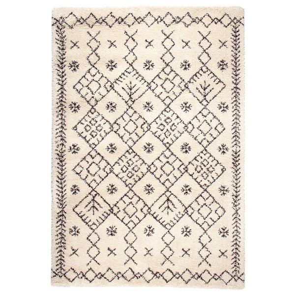 民族調 ラグマット/絨毯 【160cm×230cm アイボリー】 長方形 ウィルトン 『ROYAL NOMADIC ロイヤルノマディック モロッコ』【代引不可】