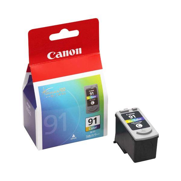 【送料無料】(まとめ) キヤノン Canon FINEカートリッジ BC-91 3色一体型 大容量 0393B001 1個 【×10セット】
