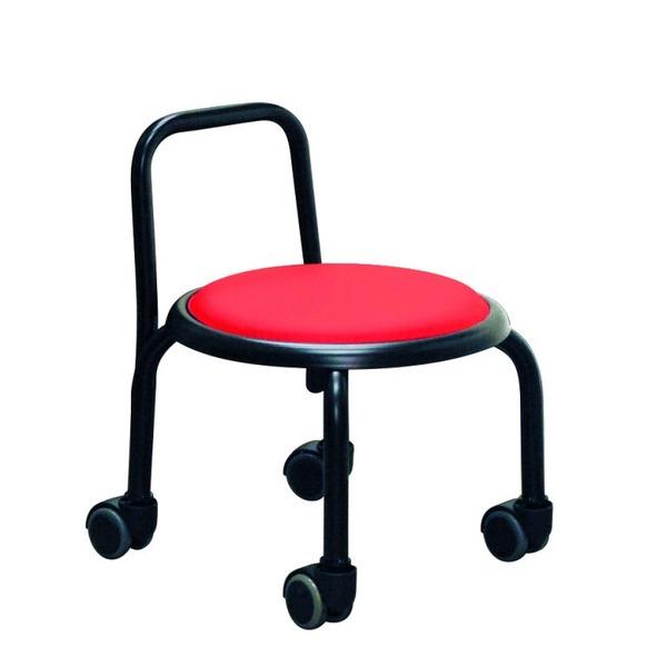 【送料無料】スタッキングチェア/丸椅子 【同色3脚セット レッド×ブラック】 幅32cm スチールパイプ 『背付ローキャスターチェア ボン』【代引不可】