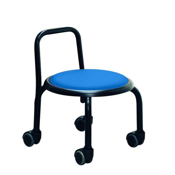 【送料無料】スタッキングチェア/丸椅子 【同色3脚セット ブルー×ブラック】 幅32cm スチールパイプ 『背付ローキャスターチェア ボン』【代引不可】