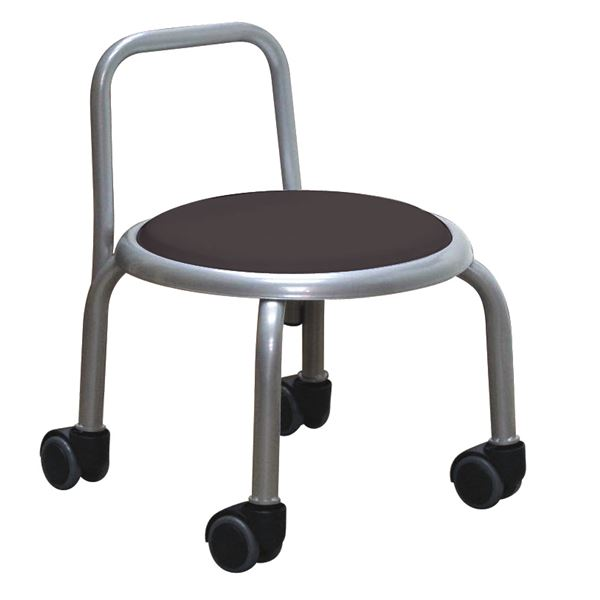 【送料無料】スタッキングチェア/丸椅子 【同色3脚セット ブラック×シルバー】 幅32cm 日本製 『背付ローキャスターチェア ボン』【代引不可】