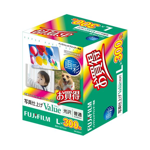 【送料無料】(まとめ) 富士フィルム FUJI 画彩 写真仕上げValue 光沢 L判 WPL300VA 1箱(300枚) 【×5セット】
