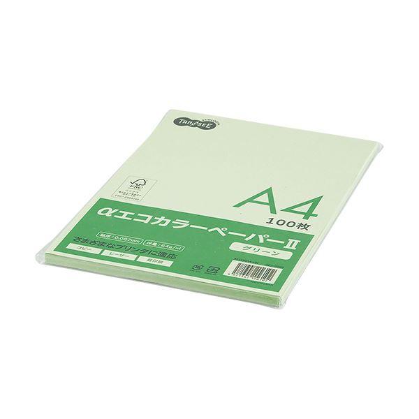 (まとめ) TANOSEE αエコカラーペーパーII A4 グリーン 少枚数パック 1冊(100枚) 【×30セット】