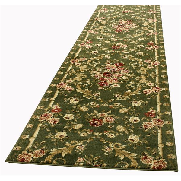 トルコ製 ラグマット/絨毯 【80cm×440cm グリーン】 長方形 ウィルトン 『ロゼ』 〔リビング ダイニング 寝室〕【代引不可】