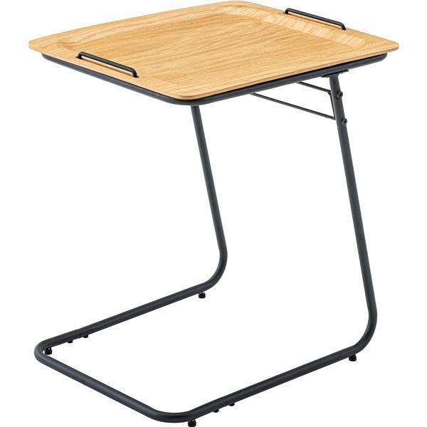 【送料無料】【2セット】 フォールディングテーブル/サイドテーブル 【オーク】 幅50cm×奥行40cm×高さ56cm 天然木 【組立品】