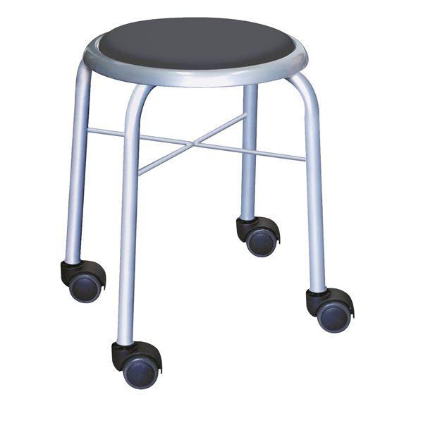 【送料無料】スタッキングチェア/丸椅子 【同色4脚セット ブラック×シルバー】 幅32cm 日本製 スチールパイプ 『キャスタースツール ボン』【代引不可】