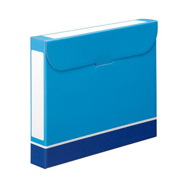 【送料無料】(まとめ) TANOSEE ファイルボックス A4 背幅53mm 青 1パック(5冊) 【×10セット】