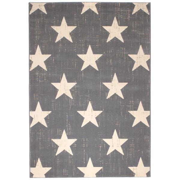 ビンテージ風 ラグマット/絨毯 【140cm×200cm グレー】 長方形 ベルギー製 ウィルトン 『CANVAS スター』【代引不可】