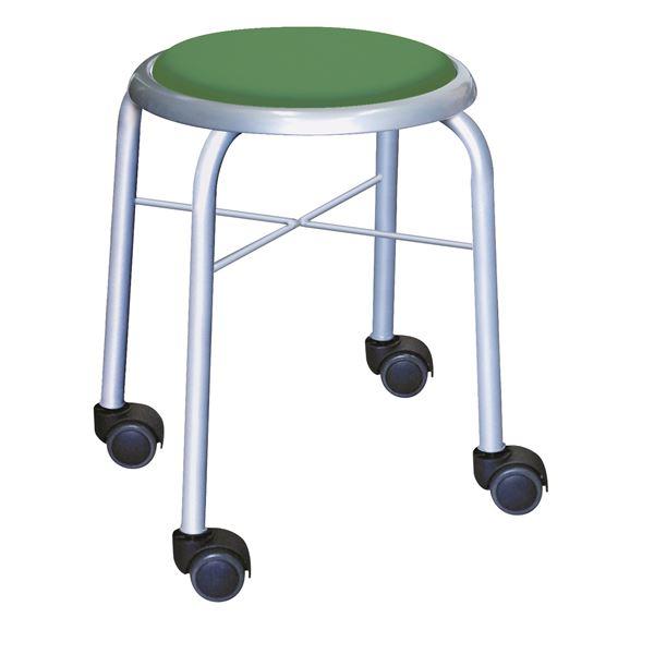 【送料無料】スタッキングチェア/丸椅子 【同色4脚セット グリーン×シルバー】 幅32cm 日本製 スチールパイプ 『キャスタースツール ボン』【代引不可】