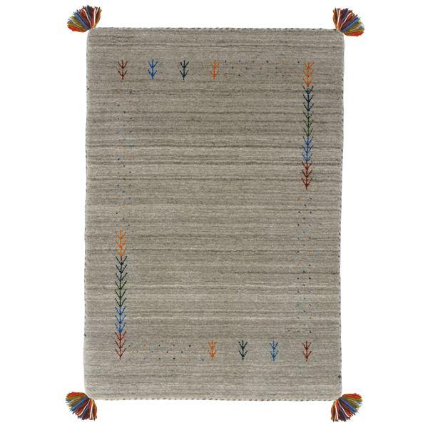 ギャッベ ラグマット/絨毯 【約80×140cm グレー】 ウール100% 保温性抜群 調湿効果 オールシーズン対応 〔リビング〕【代引不可】