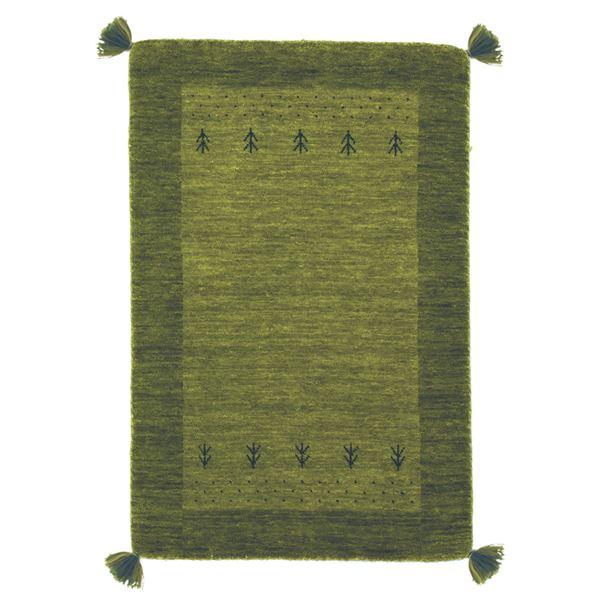 ギャッベ ラグマット/絨毯 【約80×140cm グリーン】 ウール100% 保温性抜群 調湿効果 オールシーズン対応 〔リビング〕【代引不可】