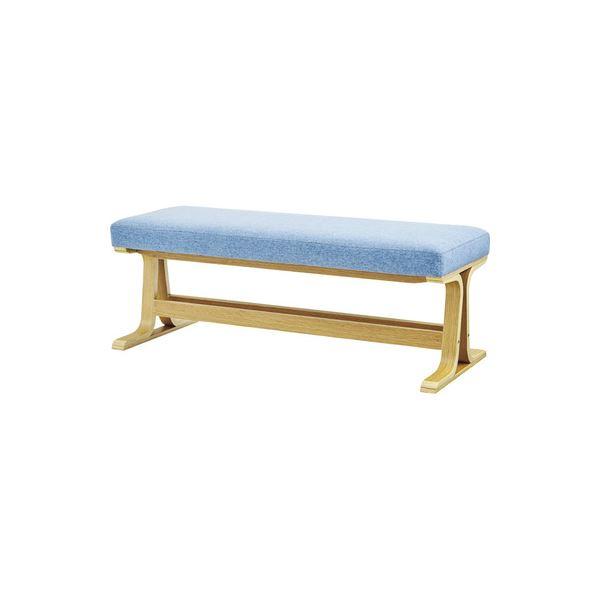 【送料無料】北欧風 ベンチ/玄関椅子 【ナチュラル】 幅105cm 木製 綿 〔リビング 店舗 飲食店〕