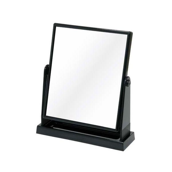 【送料無料】(まとめ) 卓上鏡/スタンドミラー 【ブラック】 角型 300×260×奥行80mm トレイ付き 【30個セット】