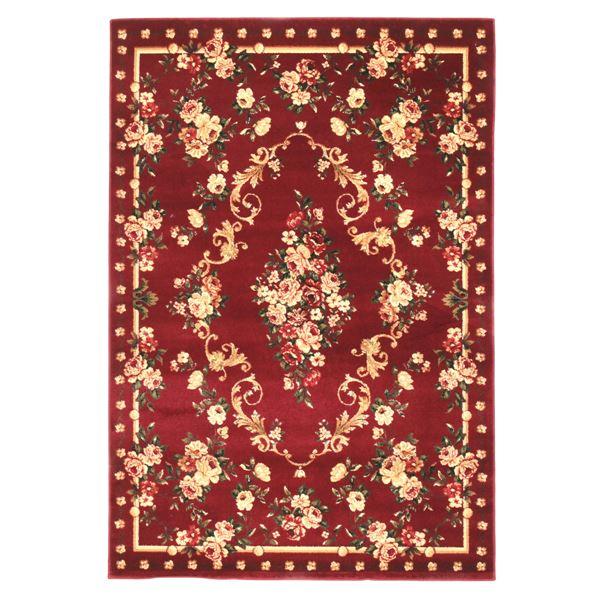 【送料無料】トルコ製 ラグマット/絨毯 【230cm×230cm レッド】 正方形 高耐久 ウィルトン 『ロゼ』 〔リビング ダイニング〕【代引不可】