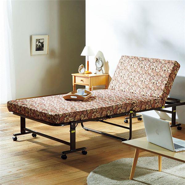 【送料無料】寝心地が選べる折りたたみベッド 低反発セミダブル 花柄