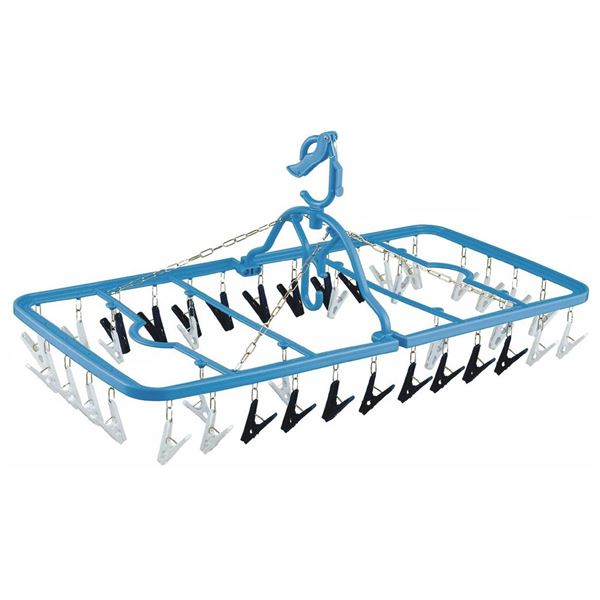 【送料無料】(まとめ) 洗濯ハンガー/ピンチハンガー 【40ピンチ】 干し分け ストロング 背伸びグリップ付き 【×20個セット】