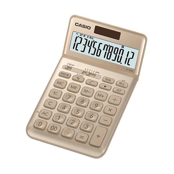 優雅に美しく 洗練されたスマートデザイン 送料無料 まとめ カシオ デザイン電卓 JF-S200-GD-N ×5セット 人気の製品 12桁ジャストタイプ 供え ゴールド 1台
