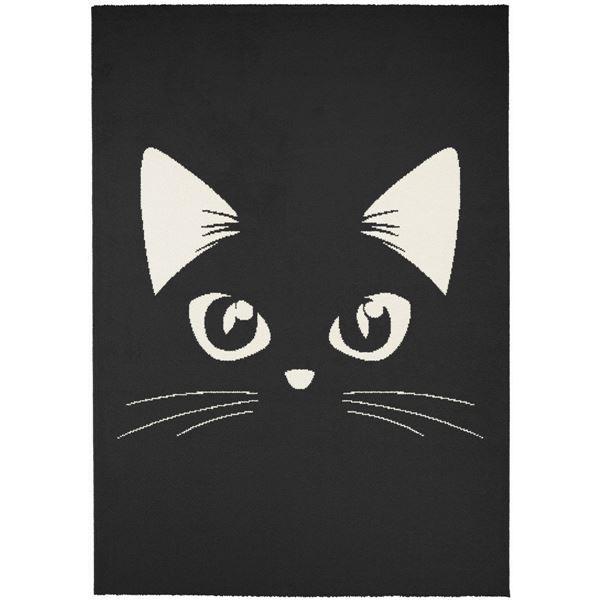 ウィルトン織 ラグマット/絨毯 【キャットミラー】 ブラック 120cm×170cm 長方形 ベルギー製 『SWING』 〔リビング〕【代引不可】