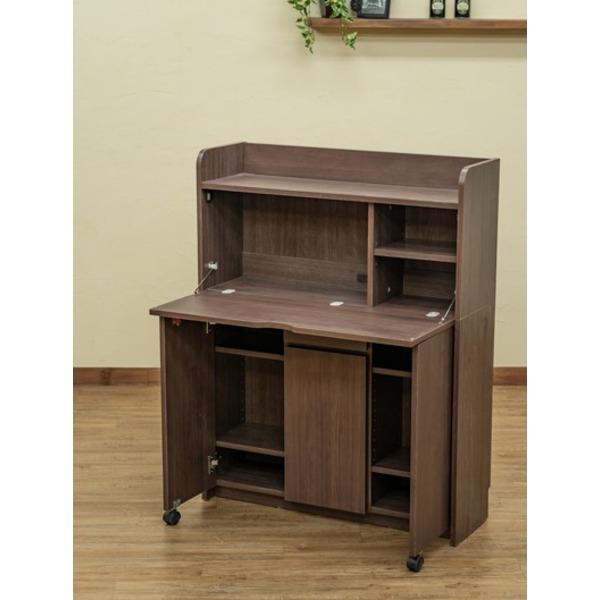 【送料無料】Solano ライティングデスク 90cm幅 ダークブラウン (DBR)【代引不可】