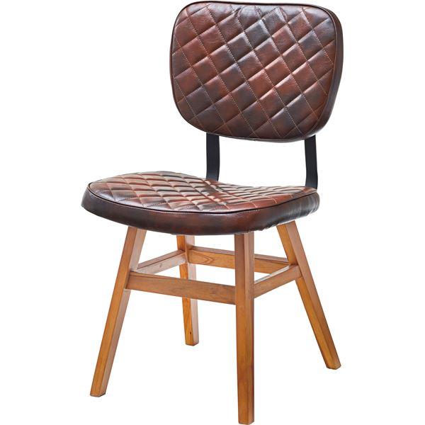 【送料無料】ダイニングチェア/食卓椅子 2脚セット 【幅46cm×奥行51cm×高さ85cm×座面高46cm】 木製 スチール 合皮/合成皮革