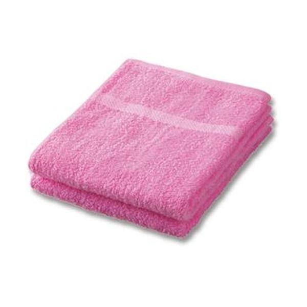 【送料無料】(まとめ)抗菌防臭ボーダーフェイスタオル ピンク 1パック(2枚)【×50セット】