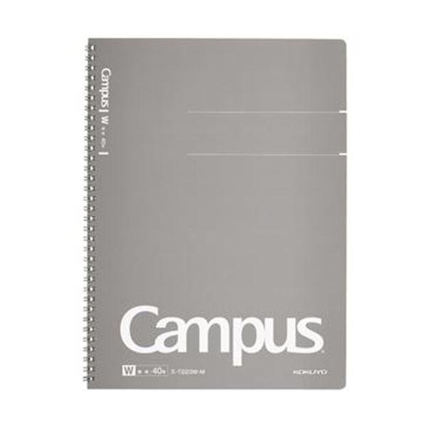 【送料無料】(まとめ)コクヨ キャンパスツインリングノート(カットオフ)A4 無地 40枚 グレー ス-T223W-M 1セット(5冊)【×5セット】