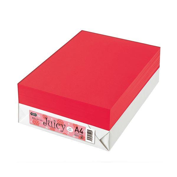 【送料無料】(まとめ) TANOSEE カラーペーパーJuicy A4 ラズベリー 1冊(500枚) 【×5セット】