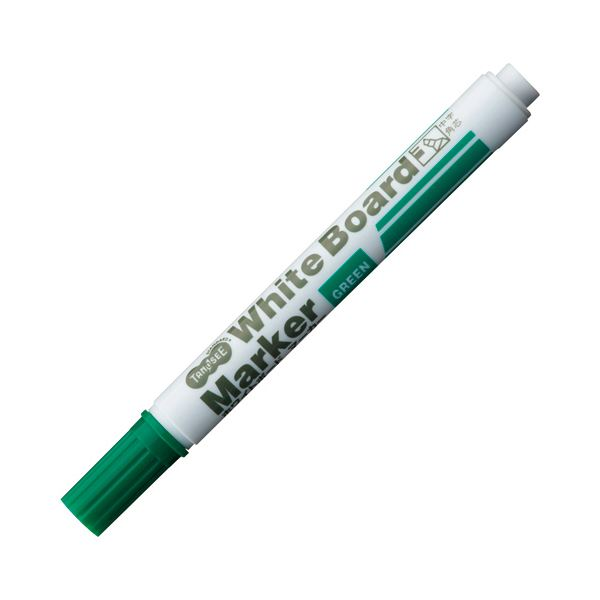 (まとめ) TANOSEE ホワイトボードマーカー 中字角芯 緑 1本 【×300セット】