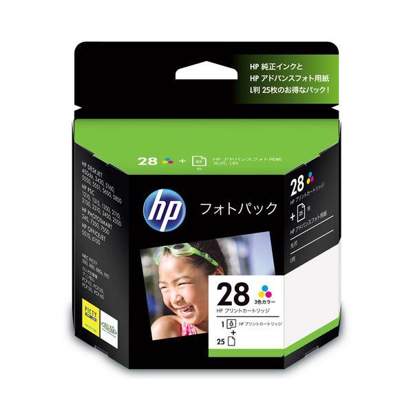 【送料無料】(まとめ) HP28/L判 フォトパック 3色カラー+アドバンスフォト用紙L判25枚 CR714AJ 1セット 【×10セット】